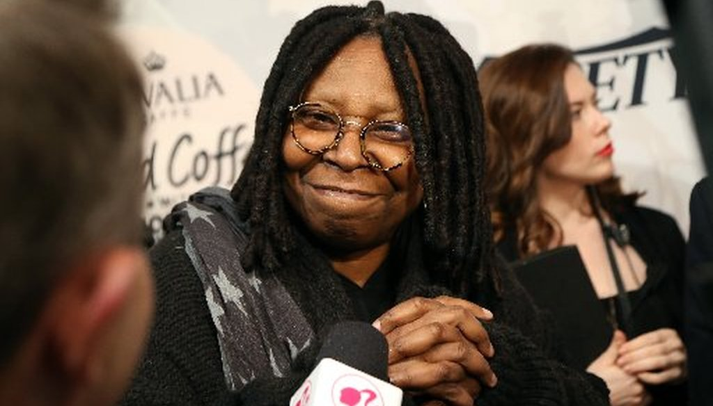 """Whoopi Goldberg, a co-host on """"The View,"""" has been targeted by fake news sites for her outspoken opposition of President Donald Trump. (Getty Images file photo)"""