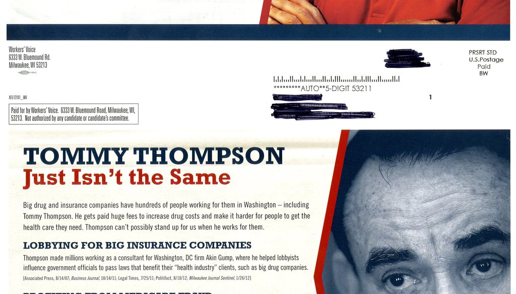 Workers' Voice, a group funded by the AFL-CIO, mailed this flier attacking Tommy Thompson in the 2012 Wisconsin Senate race