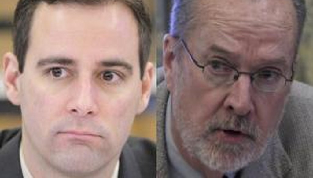 Democratic state Sen. Jim Whelan (right) won reelection over Republican challenger Vince Polistina in Atlantic County in one of the state's most hotly contested races