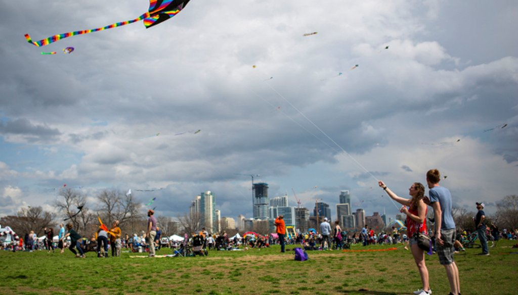 Zilker Park, among big Austin city parks lately home to recycling bins, hosted the Zilker Park ABC Home Kite Festival in Austin, Texas on March 4, 2018 (Thao Nguyen/FOR AUSTIN AMERICAN-STATESMAN).