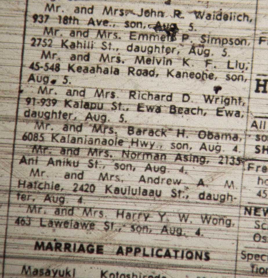 Links to documents involving president obama politifact birth announcement in the honolulu advertiser 1betcityfo Image collections