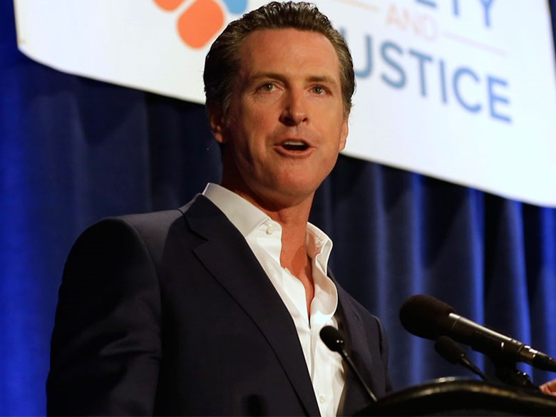 California Lt. Gov. Gavin Newsom speaks in Sacramento in 2015. Associated Press file photo.