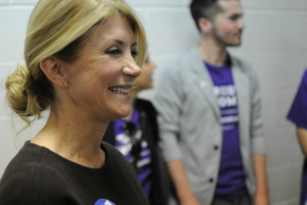 Wendy Davis, shown stumping in South Dakota for Hillary Clinton in May 2016, earlier made an incorrect claim about Texas not having an 'equal pay' law (Photo by the Associated Press).