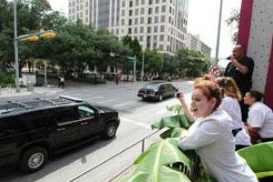 President Obama's motorcade passed through downtown Austin on his arrival July 17, 2012 (American-Statesman photo: Rodolfo Gonzalez).