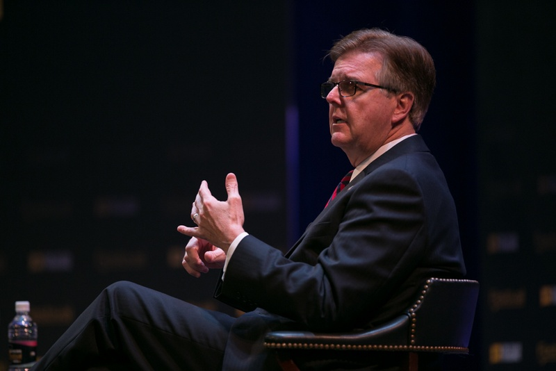 Dan Patrick, the Texas lieutenant governor, is interviewed by Abby Livingston of the Tribune on Oct. 16, 2015 (Tribune photo, Spencer Selvidge).