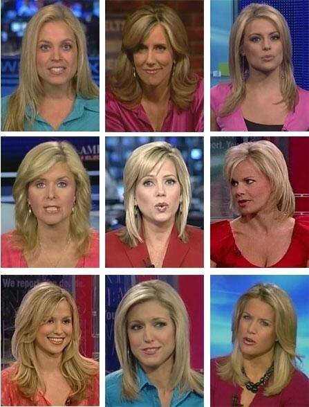 Image of 9 white, blond women shows 'amazing diversity of