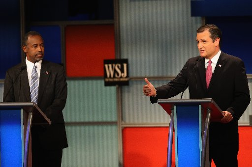 Ted Cruz (right) spoke longer than any candidate in the Republican presidential debate Nov. 10, 2015. Ben Carson drew less talk time (Getty Images photo).