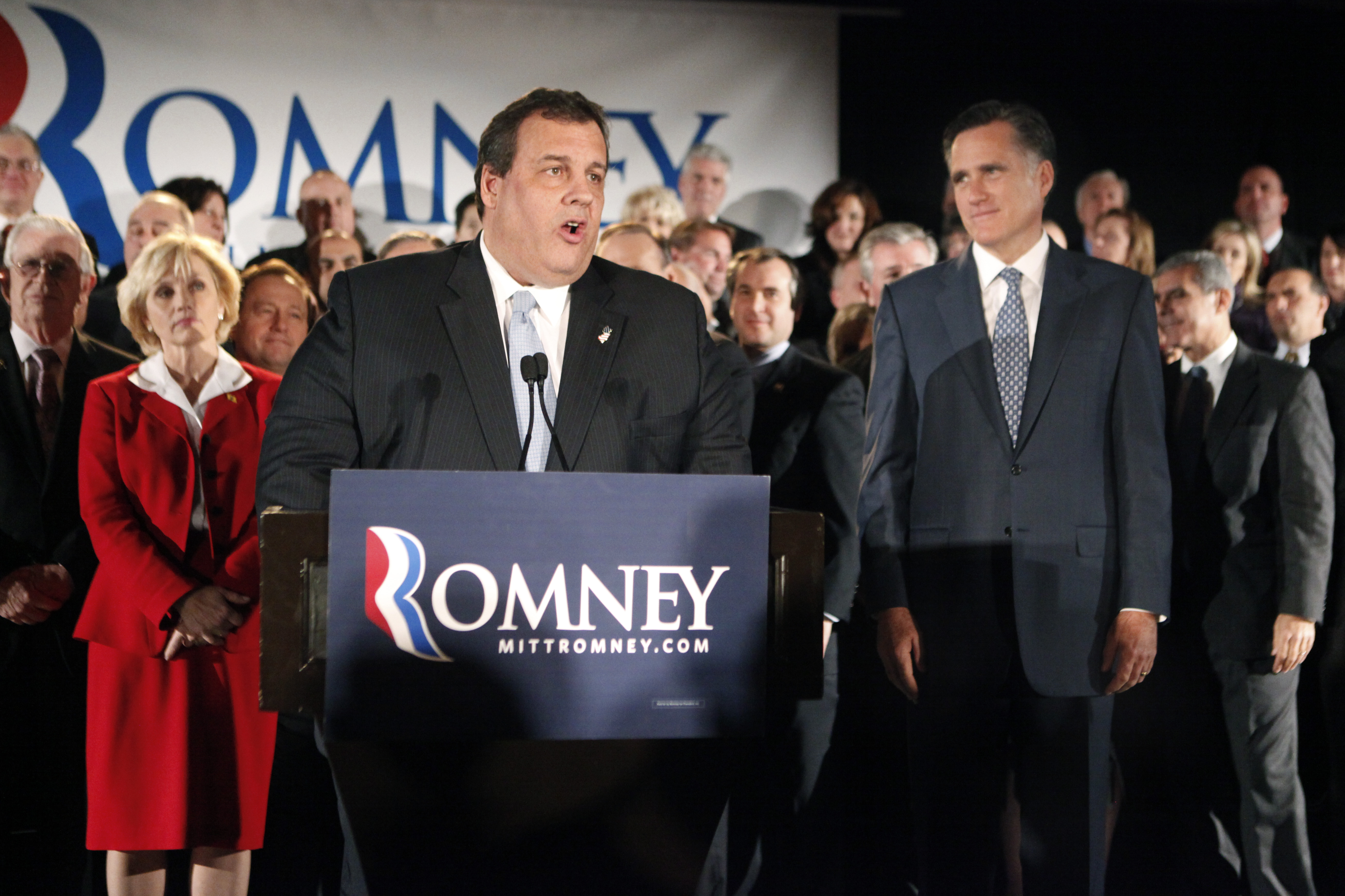Gov. Chris Christie introduces Republican presidential nominee Mitt Romney at a campaign fundraiser in December.