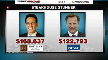 """MSNBC's Chuck Todd said, """"Cantor's campaign spent more at steak houses then Brat spent on his entire campaign."""""""