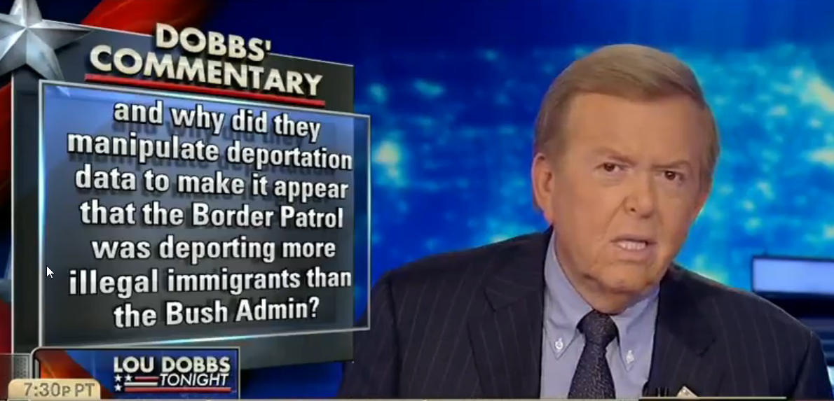 "Fox Business host Lou Dobbs said Barack Obama ""manipulated deportation data to make it appear that the border patrol was deporting more illegal immigrants than the Bush administration."""