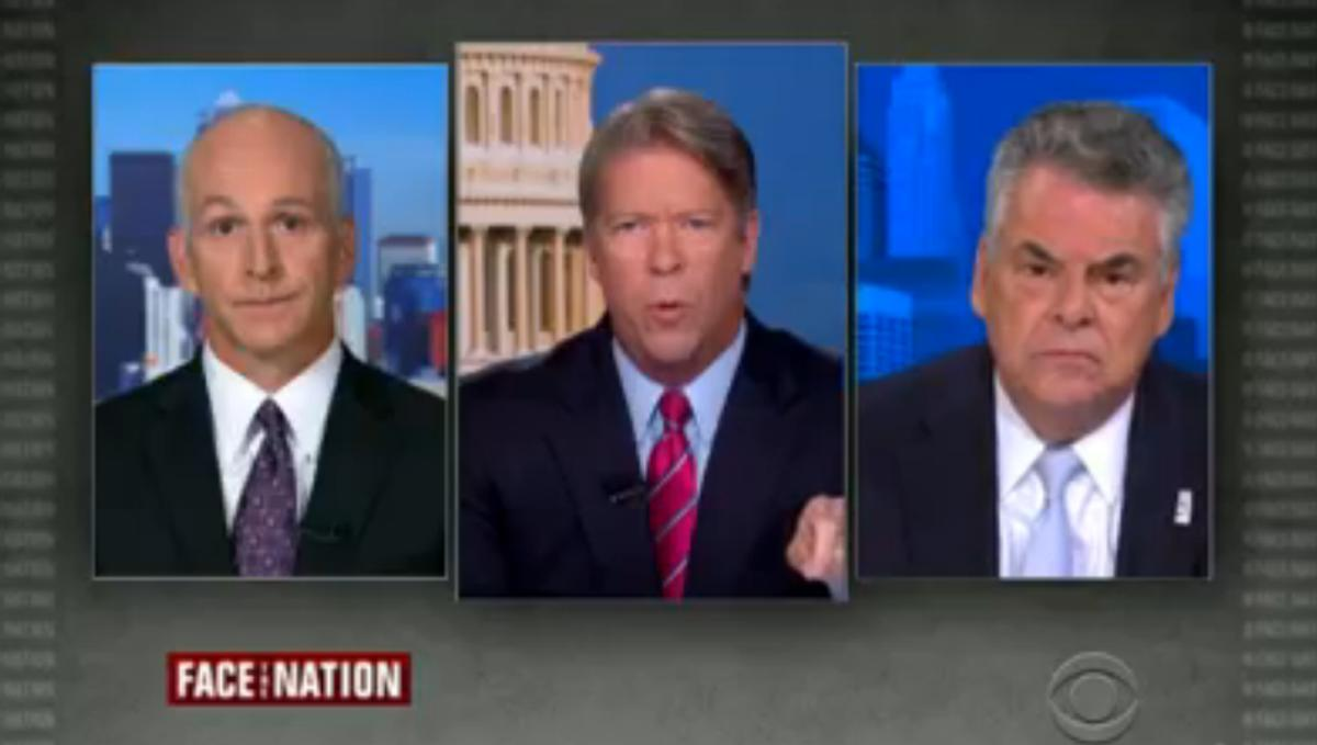 "Rep. Peter King, R-N.Y., right, appeared on CBS' ""Face the Nation"" on Aug. 31, 2014."