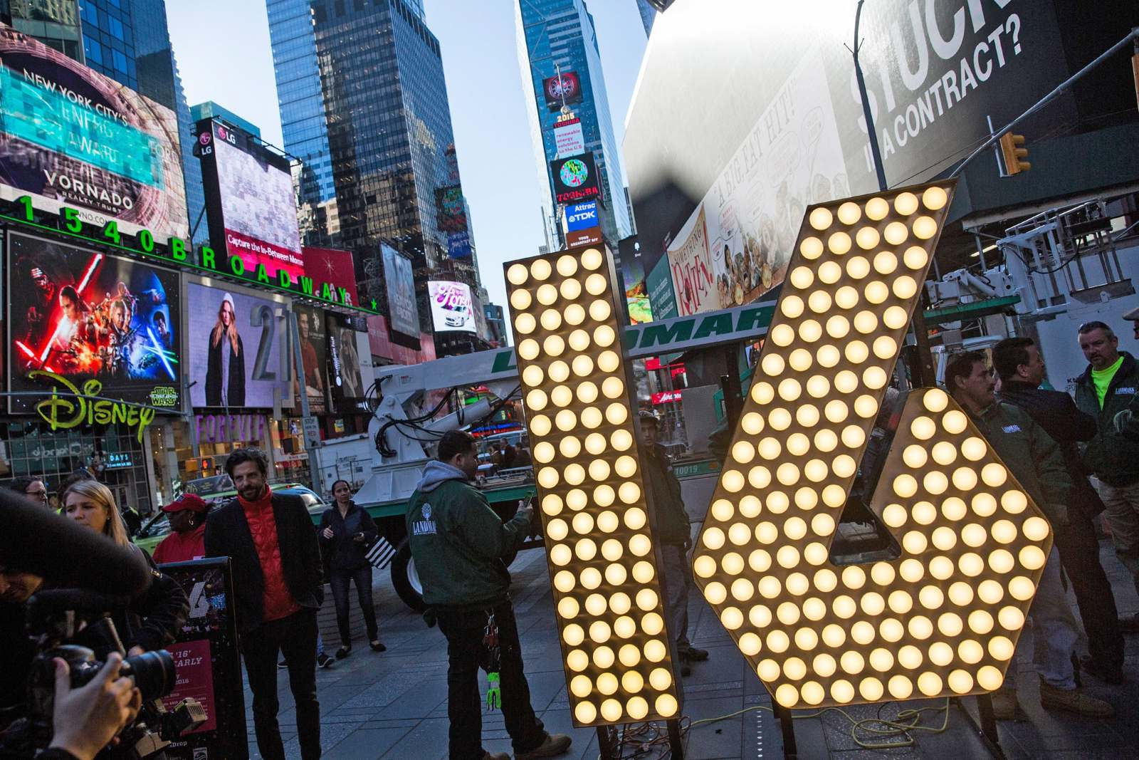 "The numerals ""1"" and ""6,"" to be used to spell out ""2-0-1-6"" during the Times Square New Year's Eve celebration, are unveiled Dec. 15, 2015 in New York City. (Photo by Andrew Burton/Getty Images)"