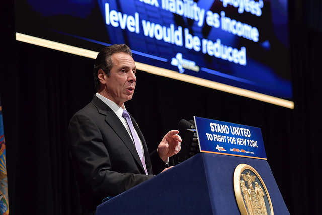Gov. Andrew M. Cuomo claimed many State Senate and Assembly districts upstate don't have a millionaire. (Courtesy: Cuomo's Flickr page)