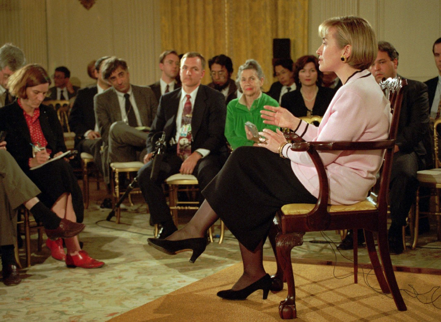 First lady Hillary Clinton gestures during a news conference in the White House Friday, April 22, 1994. (AP photo)