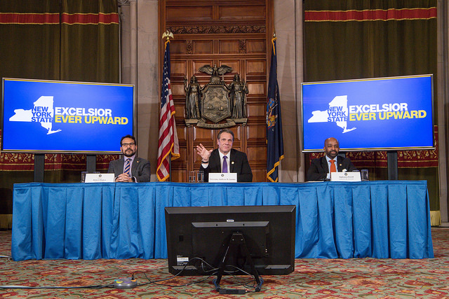 Gov. Andrew M. Cuomo announces a deal on the state budget. (Courtesy: Cuomo's Flickr page)