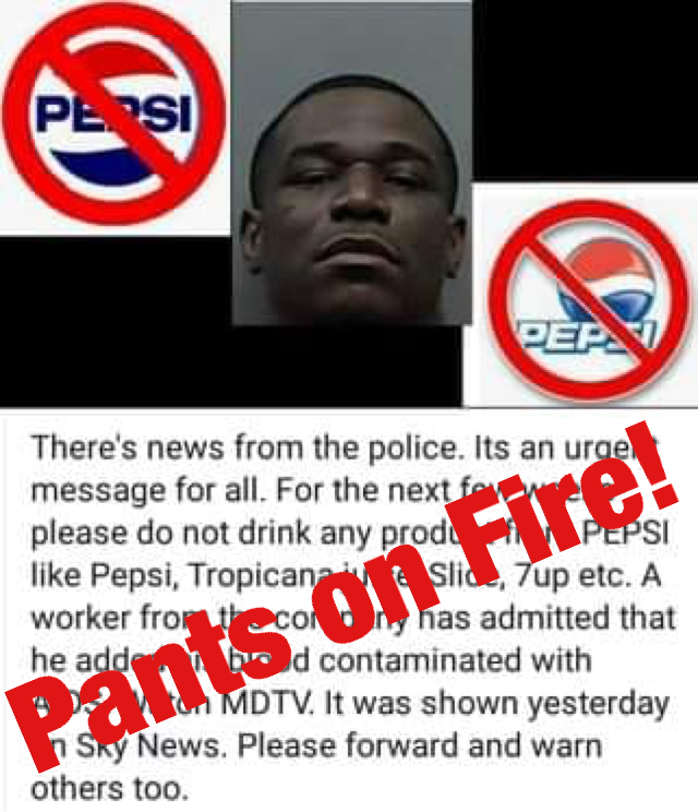 No, a Pepsi employee didn't contaminate the company's