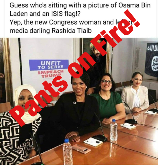 No, US Rep  Rashida Tlaib wasn't photographed in front of