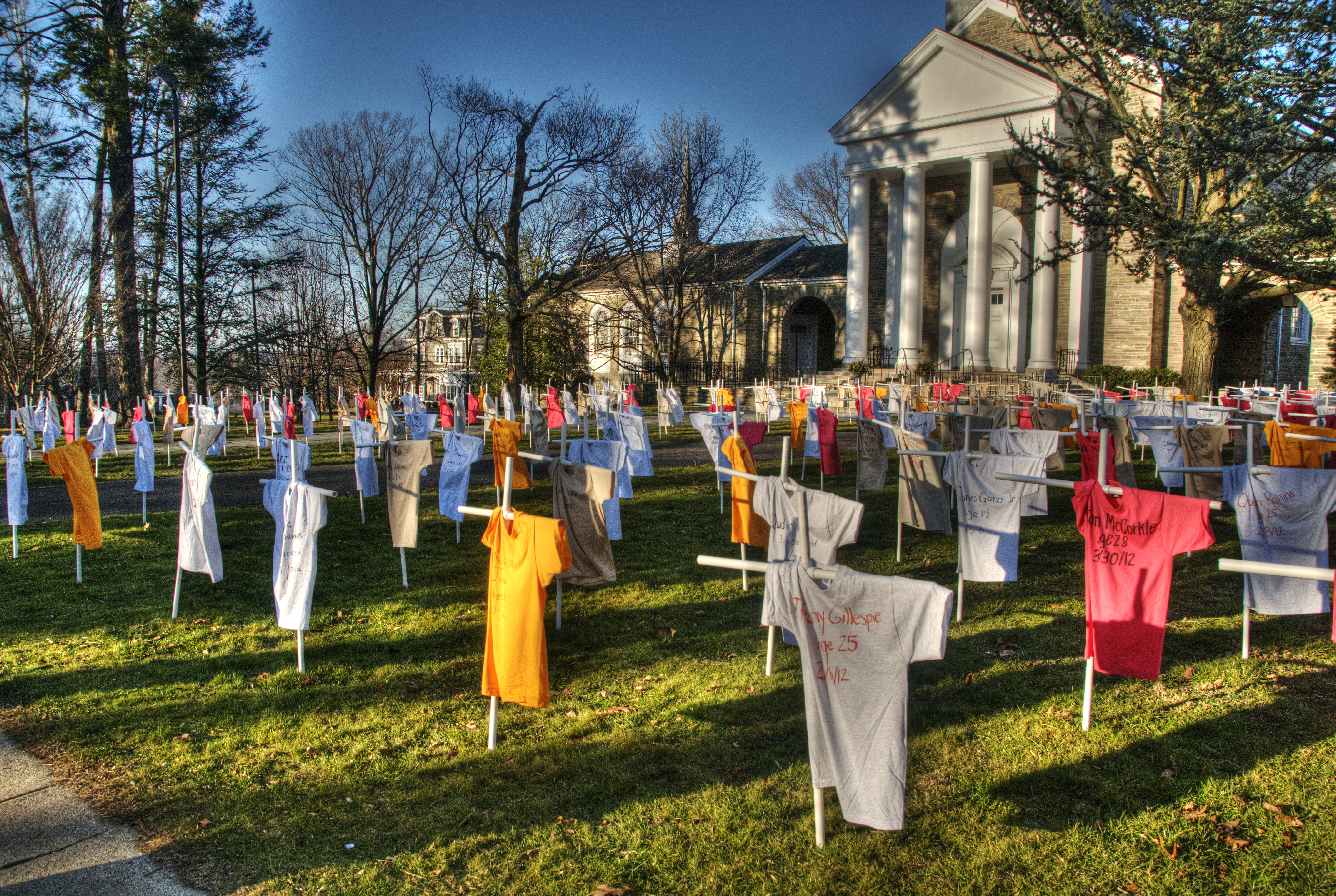A gun violence for memorial marking each fatality in Philadelphia in 2012. Credit: Cocoabiscuit/Flickr