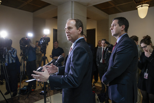 Rep. Adam Schiff, D-Calif., ranking member of the House Intelligence Committee, left, accompanied by Committee Chairman Rep. Devin Nunes, R-Calif., talks to reporters on Capitol Hill in Washington, Thursday, March 2, 2017. (AP Photo/J. Scott Applewhite)
