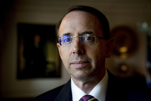 Deputy Attorney General Rod Rosenstein poses for a photograph at the Department of Justice, June 2, 2017. (AP Photo/Andrew Harnik)