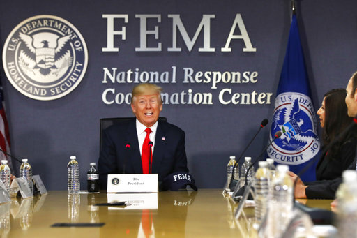 In this Aug. 4, 2017 file photo, President Donald Trump speaks at Federal Emergency Management Agency (FEMA) headquarters in Washington. (AP/Jacquelyn Martin)