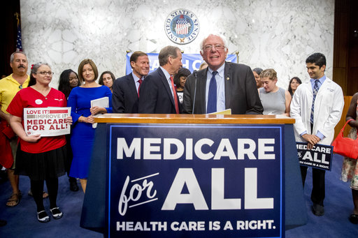 Sen. Bernie Sanders, I-Vt., at a news conference on Capitol Hill on Sept. 13, 2017, where he unveiled his Medicare for All legislation. (AP/Andrew Harnik)