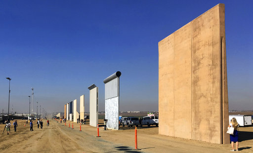 This Oct. 26, 2017 file photo shows prototypes of border walls in San Diego. (AP/Elliott Spagat)