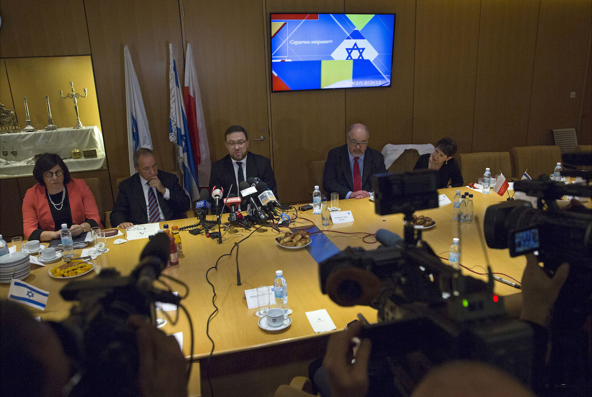 Deputy Foreign Minister of Poland Bartosz Cichocki meets with Director General of the Israeli Foreign Ministry Yuval Rotem to discuss the new Polish 'Holocaust law' at the Foreign Ministry in Jerusalem on March 1, 2018.