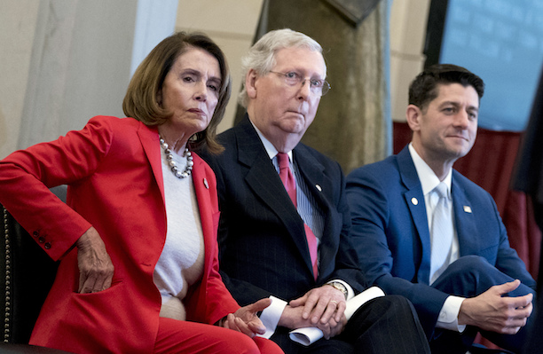 From left, House Minority Leader Nancy Pelosi of Calif., Senate Majority Leader Mitch McConnell of Ky., and House Speaker Paul Ryan of Wis., appear for a Congressional Gold Medal Ceremony. (AP)