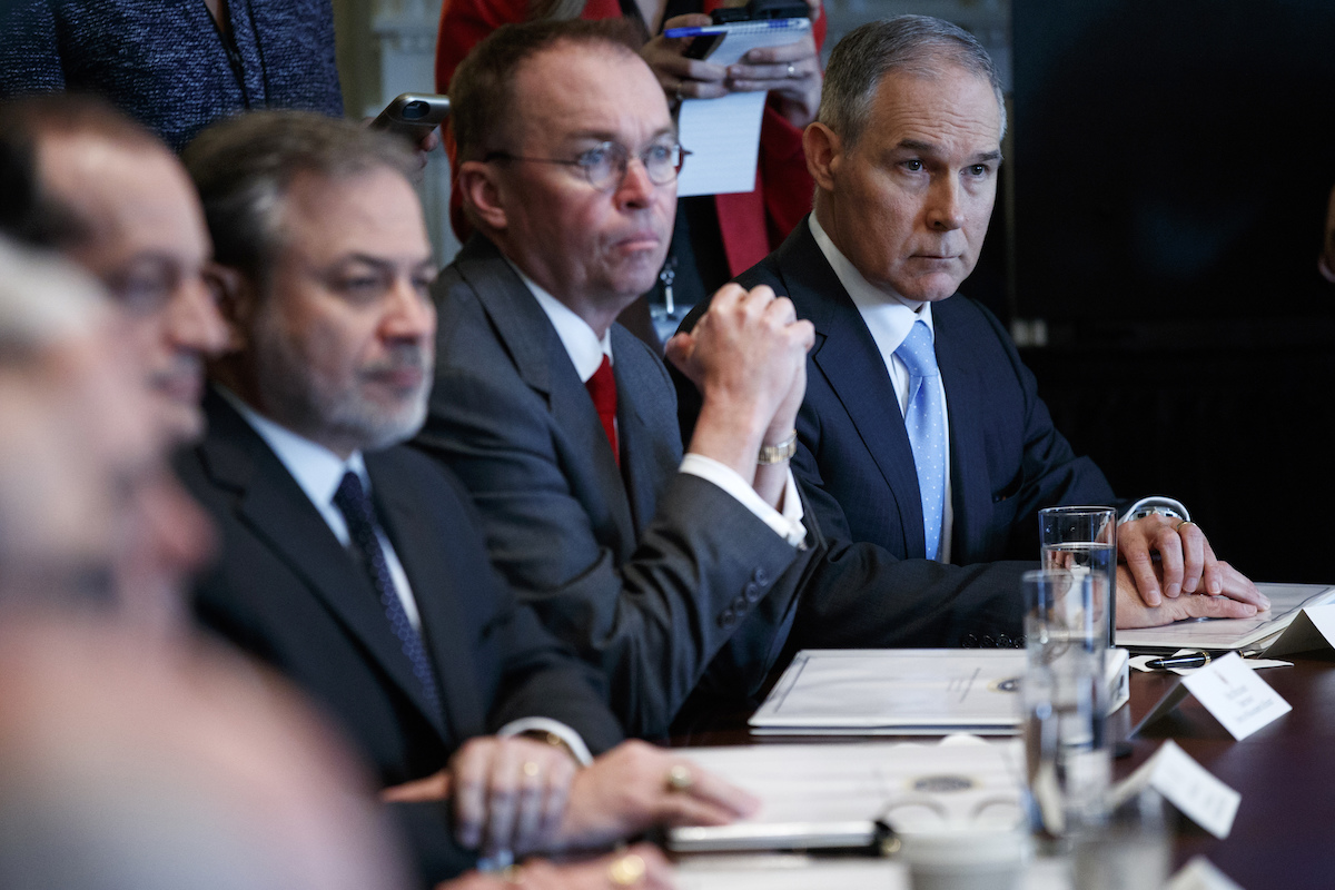Environmental Protection Agency administrator Scott Pruitt listens as President Donald Trump speaks during a cabinet meeting on April 9, 2018.
