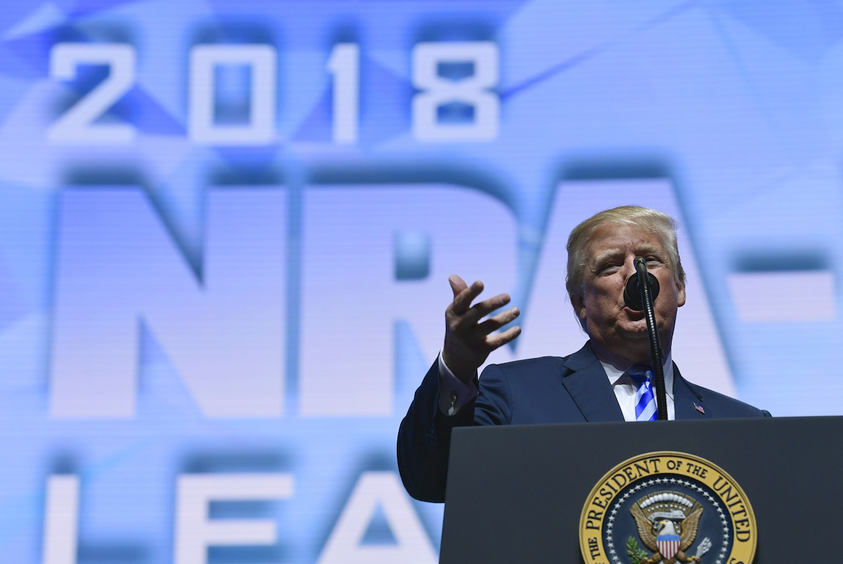 President Donald Trump speaks at the NRA convention in Dallas on May 4, 2018. (AP)