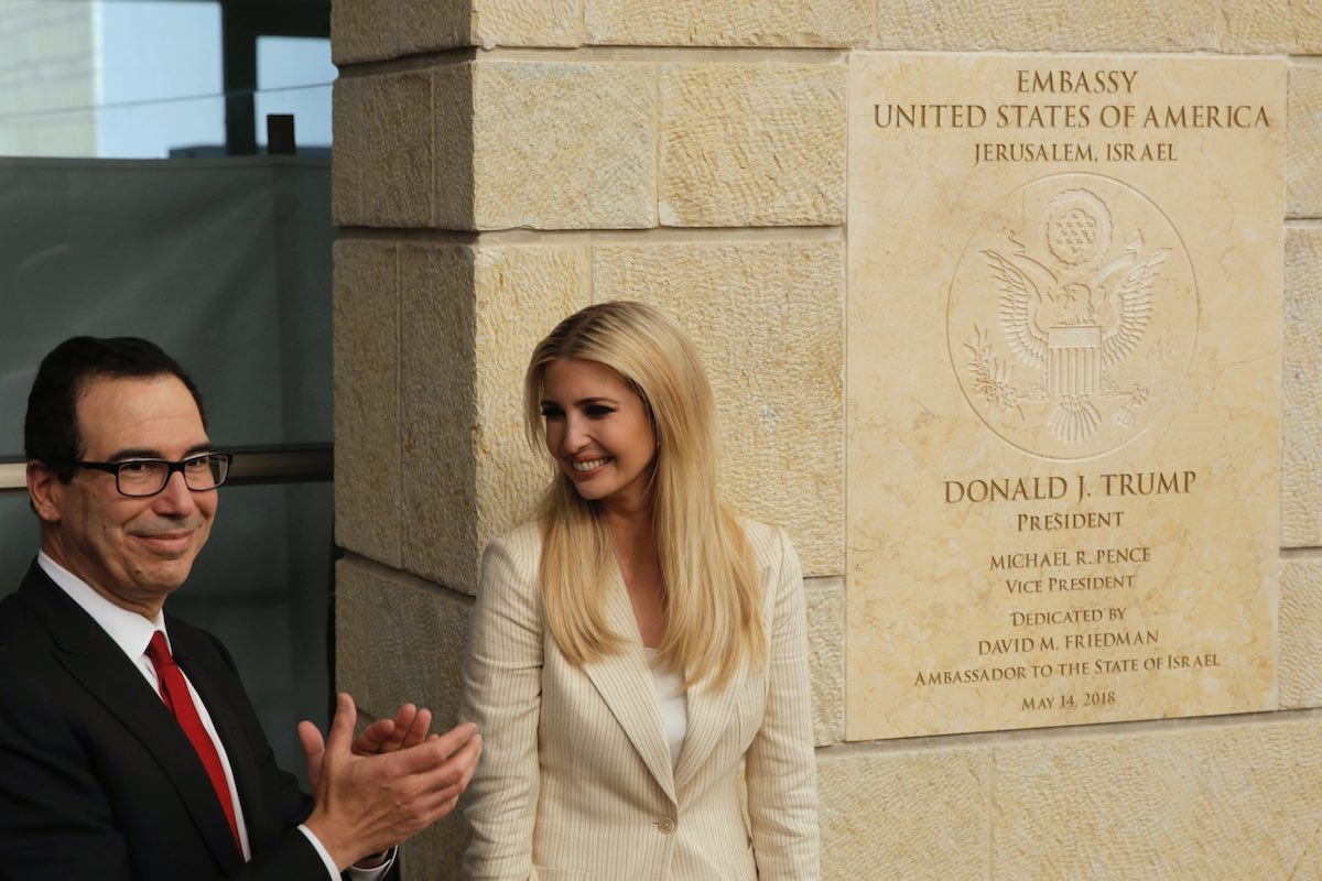 Ivanka Trump and U.S. Treasury Secretary Steve Mnuchin attend the opening ceremony of the new U.S. embassy in Jerusalem, Monday, May 14, 2018.