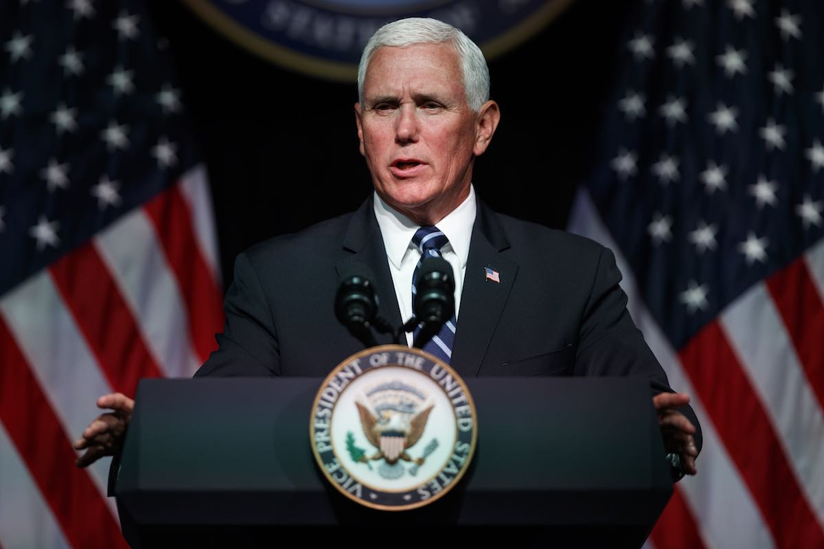 Vice President Mike Pence announces the creation of the Space Force at the Pentagon on Aug. 9, 2018.