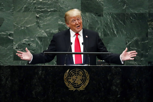 President Donald Trump addresses the 73rd session of the United Nations General Assembly, at U.N. headquarters, Sept. 25, 2018. (AP Photo/Richard Drew)