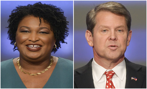 Combination of May 20, 2018, file photos shows Georgia gubernatorial candidates Stacey Abrams, left, and Brian Kemp in Atlanta. (AP Photos/John Amis, File)