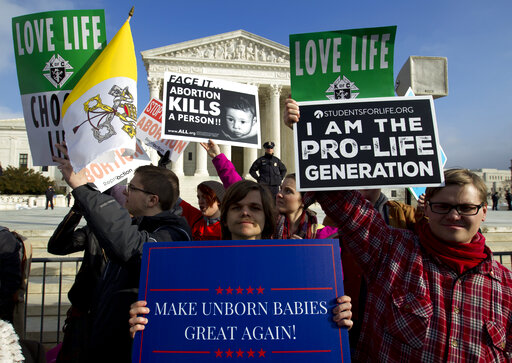 Anti-abortion activists protest outside of the U.S. Supreme Court during the March for Life in Washington, D.C., on Jan. 18, 2019. (AP)