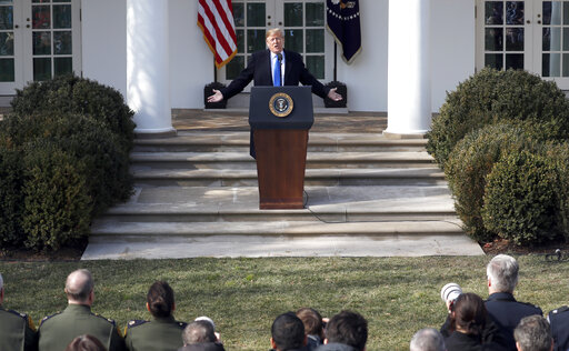 President Donald Trump speaks during an event in the Rose Garden at the White House to declare a national emergency in order to build a wall along the southern border, Friday, Feb. 15, 2019, in Washington. (AP Photo/Pablo Martinez Monsivais)