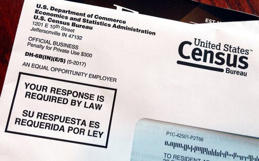 FILE - This March 23, 2018 file photo shows an envelope containing a 2018 census letter mailed to a U.S. resident as part of the nation's only test run of the 2020 Census. (AP Photo/Michelle R. Smith, File)