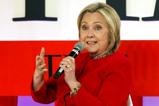 In this April 23, 2019, file photo, Hillary Clinton speaks during the TIME 100 Summit, in New York. (AP/Richard Drew)