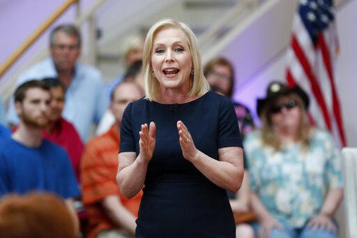 Democratic presidential candidate Sen. Kirsten Gillibrand speaks during a FOX News town hall, Sunday, June 2, 2019, in Dubuque, Iowa (AP).