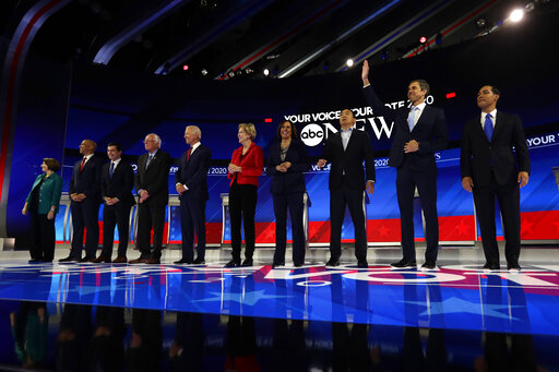 Democratic presidential candidates are introduced for the Democratic presidential primary debate hosted by ABC on the campus of Texas Southern University Thursday, Sept. 12, 2019, in Houston. (AP)