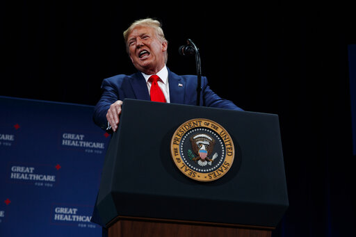 President Donald Trump delivers remarks on Medicare at the Sharon L. Morse Performing Arts Center, Thursday, Oct. 3, 2019, in The Villages, Fla. (AP Photo/Evan Vucci)