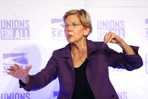 Democratic presidential candidate Sen. Elizabeth Warren, D-Mass., speaks at the SEIU Unions For All Summit on Oct. 4, 2019, in Los Angeles. (AP)