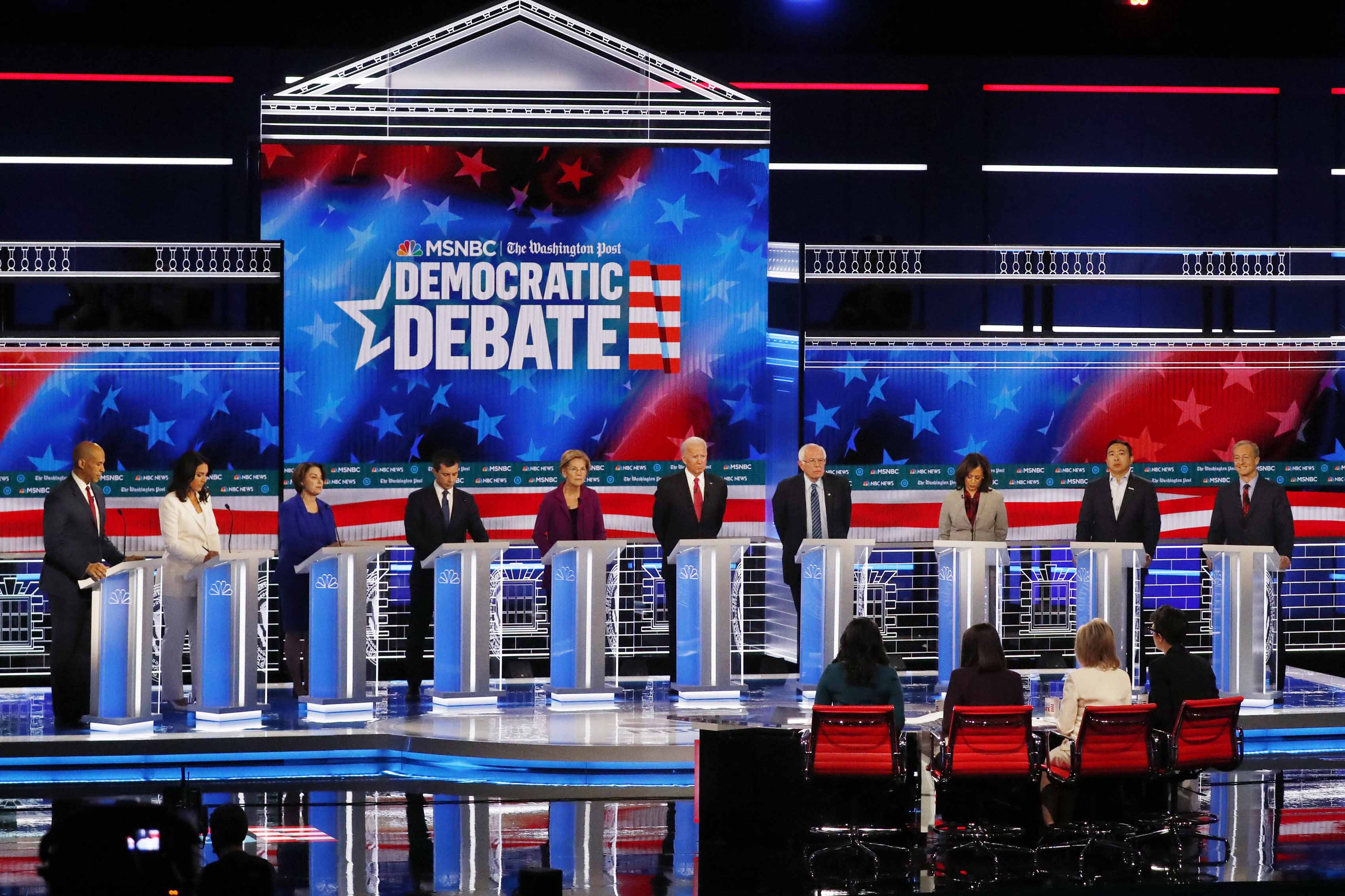 Democratic presidential candidates participate in a Democratic presidential primary debate on Nov. 20, 2019, in Atlanta. (AP)