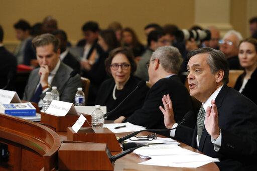 Constitutional scholars Noah Feldman, Pamela Karlan, Michael Gerhardt, and Jonathan Turley  testifiy during a House Judiciary Committee hearing on Dec. 4, 2019. (AP)
