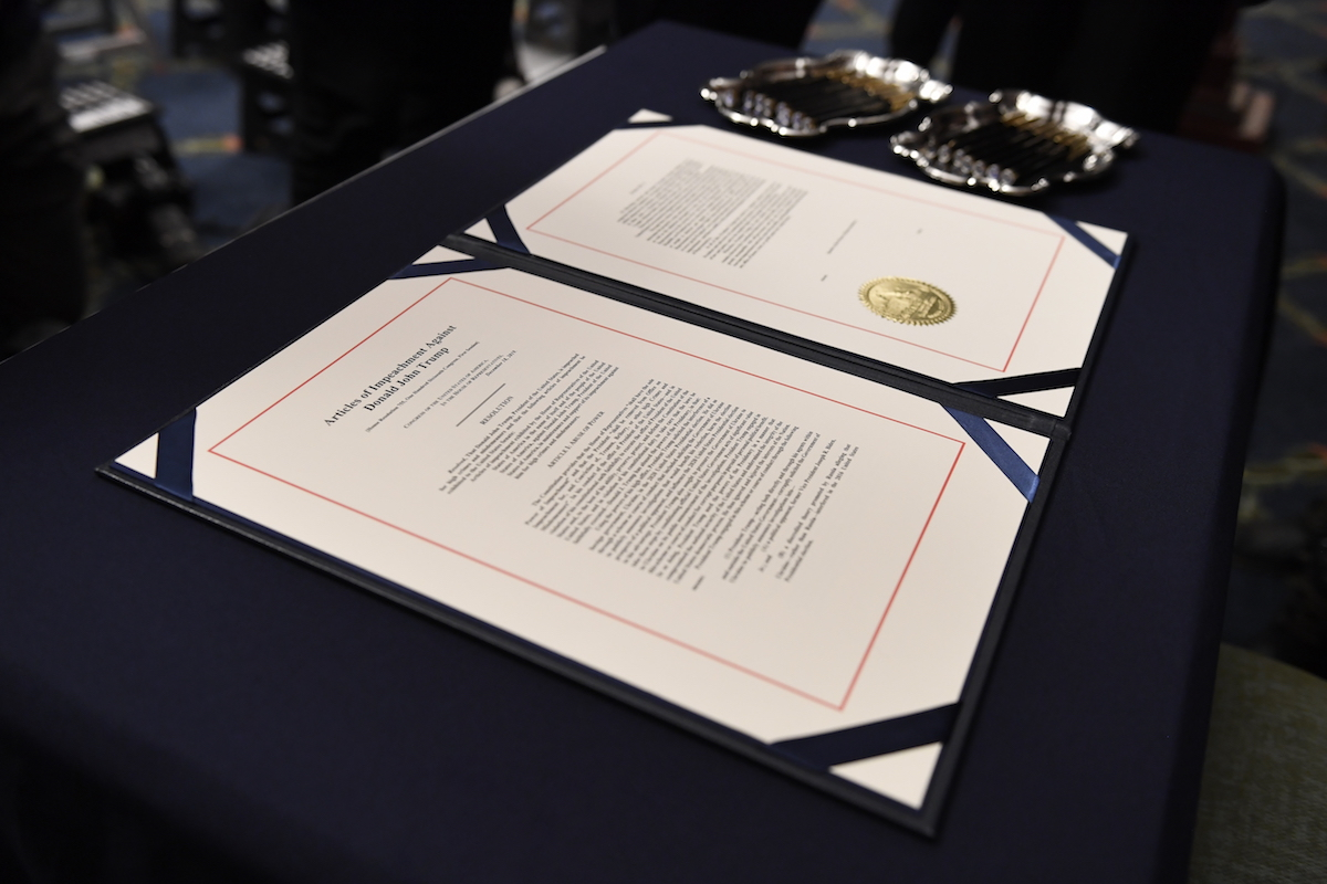 The articles of impeachment against President Donald Trump on the desk before House Speaker Nancy Pelosi of Calif. (AP images)