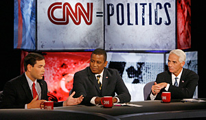 Marco Rubio, Kendrick Meek and Charlie Crist all came out swinging at the CNN/St. Petersburg Times debate held on Oct. 24, 2010.