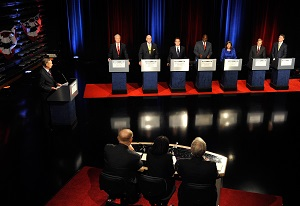 Republican candidates for U.S. Senate debated in Georgia on May. 11 in Atlanta. (AP Photo)