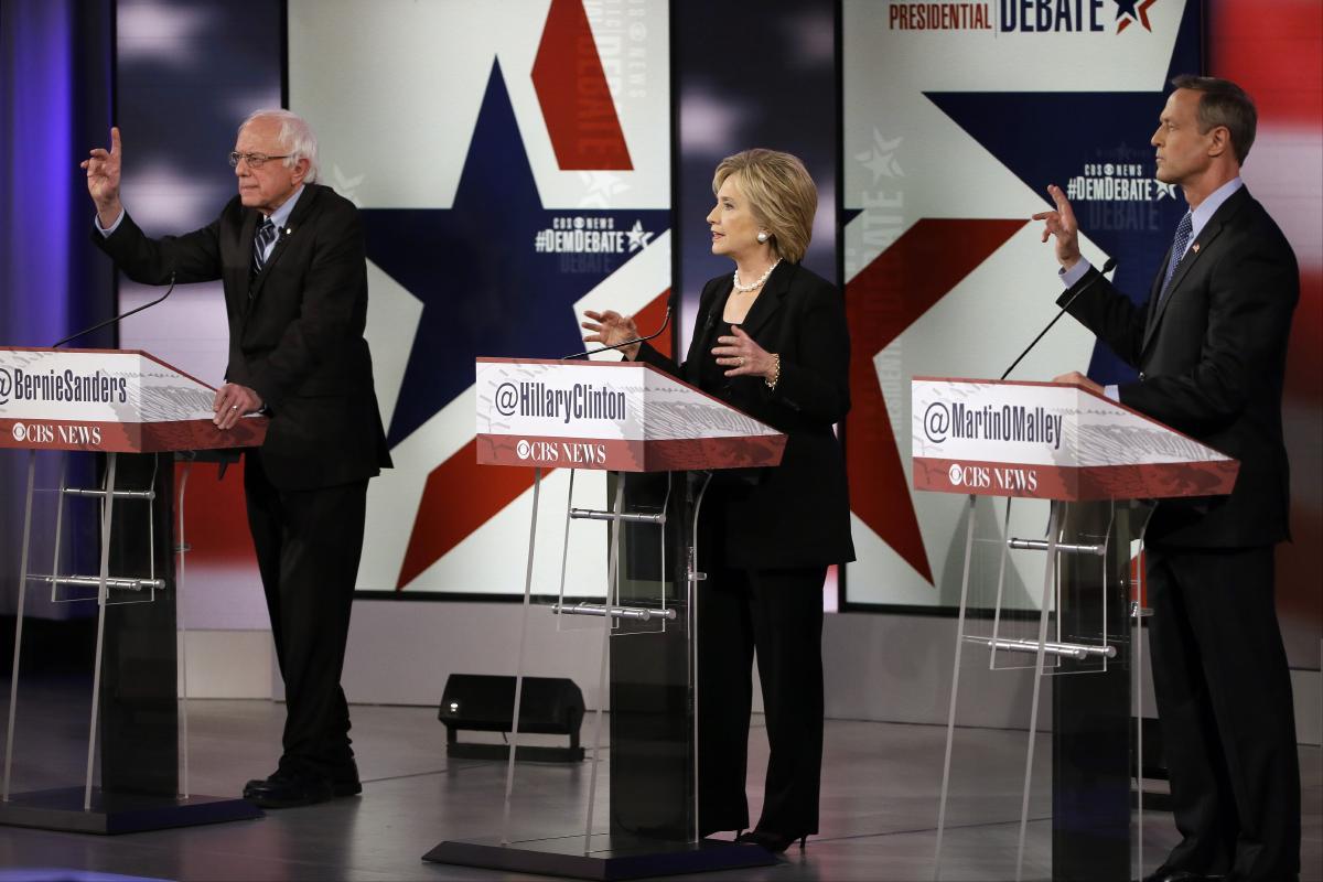 Bernie Sanders, Hillary Clinton and Martin O'Malley debate Nov. 14, 2015, in Iowa. (AP)