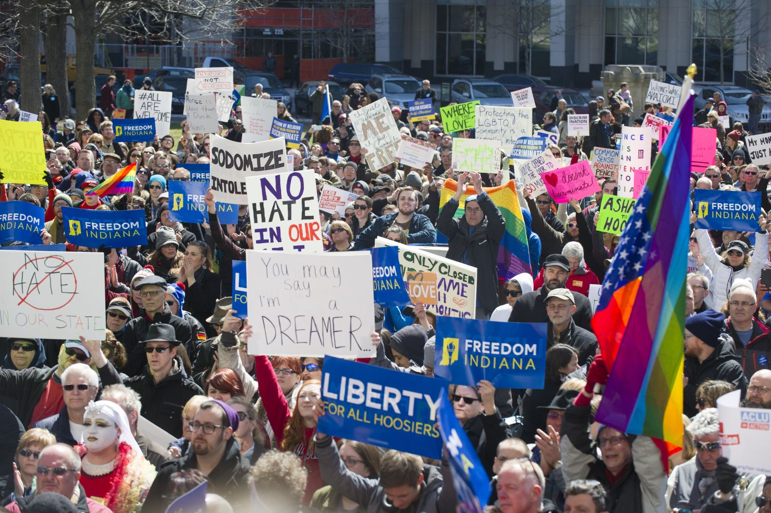 Opponents of Indiana's Religious Freedom Restoration Act gathered on the lawn of the Indiana State House to rally on March 28, 2015. (AP Photo)